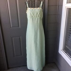 VTG 1960s Sage Green Maxi Dress Gown w/ Rosettes